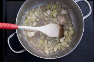 Stir-fry an onion