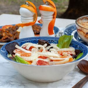 Italian orange salad with fennel on a serving bowl and peel monkeys on the salt and pepper