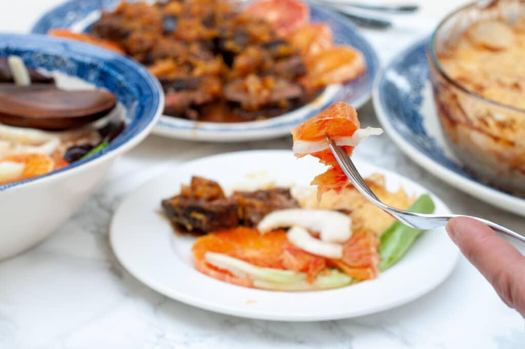 orange salad served with magret a l orange