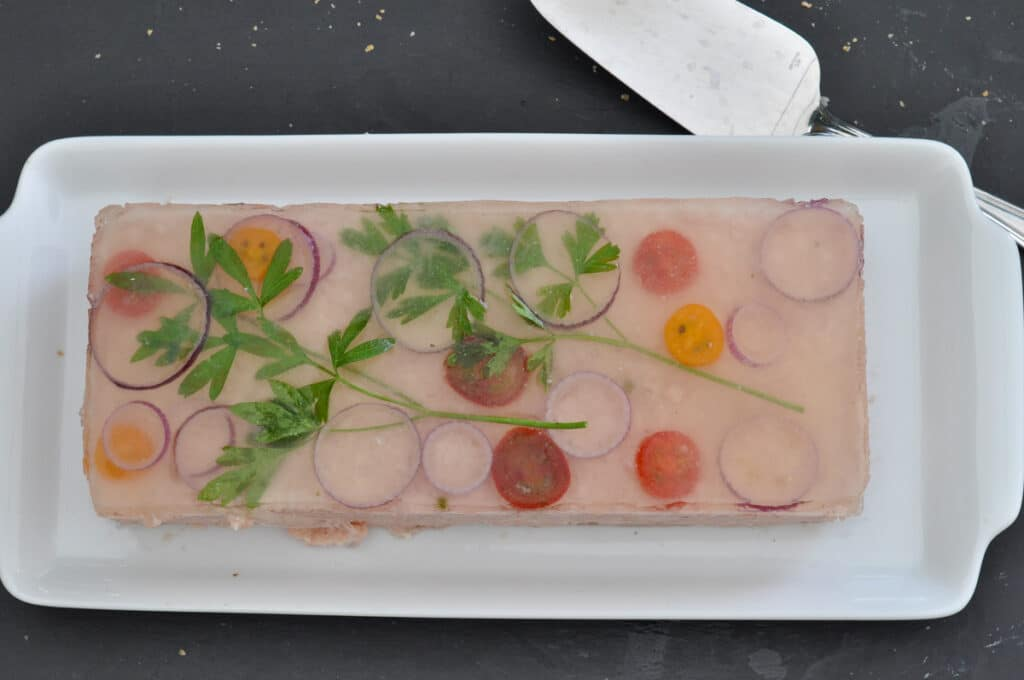 see-through herb decoration on the terrine