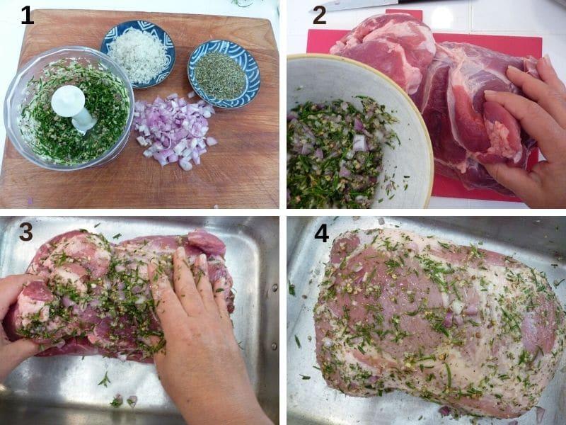 preparing the porchetta