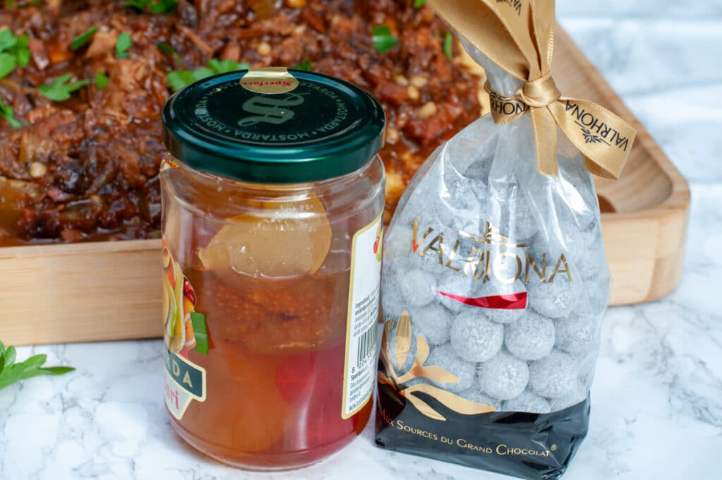candied fruit mustard and Valrhona Xocopili chocolate