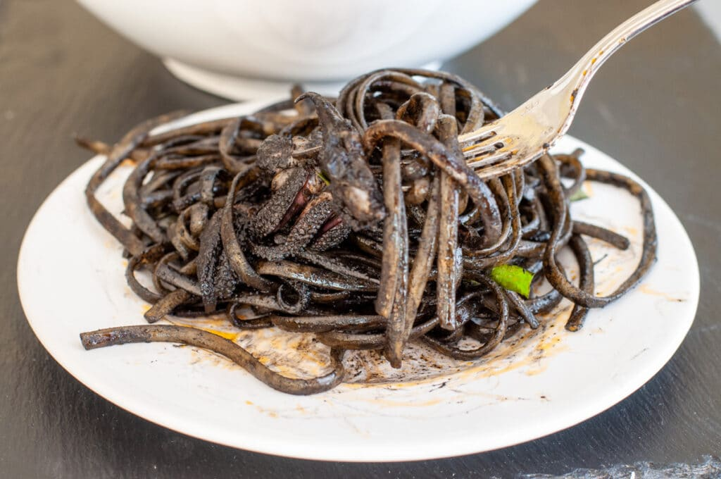 linguini with black ink on a fork