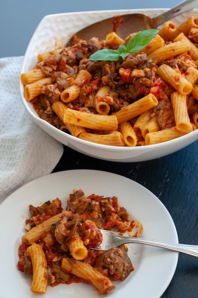 pasta with swordfish ragu and eggplants
