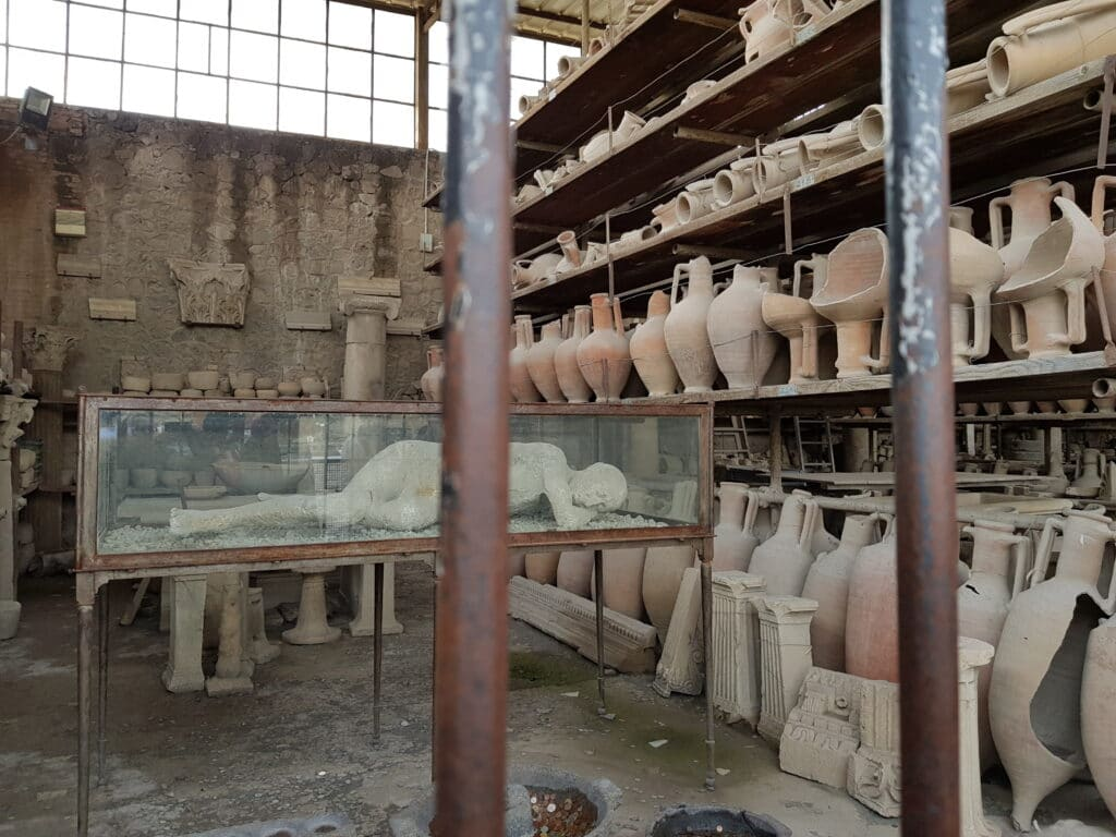 amphorae and body shapes found during the excavation of Pompeii