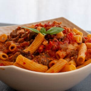 Pasta with swordfish ragu