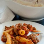 This swordfish pasta recipe is a delicious summer lunch made with swordfish ragu and fried eggplants. It is a typical dish from Catania in Sicily, where eggplants and swordfish are a local delicacy.