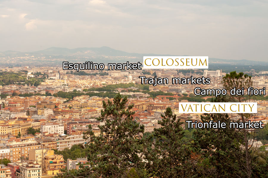 View of Rome with markets location vs Colosseum and Vatican