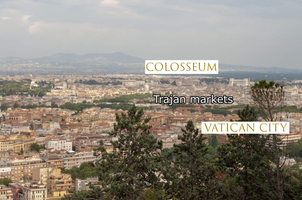 View of Roma and the Trajan's markets