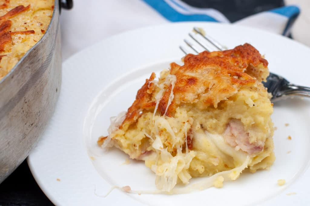 stringy cheese in the mashed potato pie