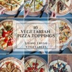 A list of vegetarian pizza toppings to celebrate Mediterranean vegetables, using for each pizza a typical regional cheese to enhances each produce and its flavor. #yougurardianchef #pizza #vegetarian
