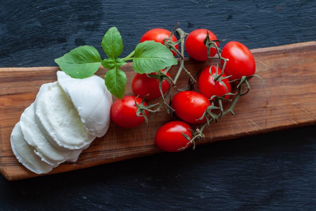 fresh mozzarella, cherry tomatoes and basil