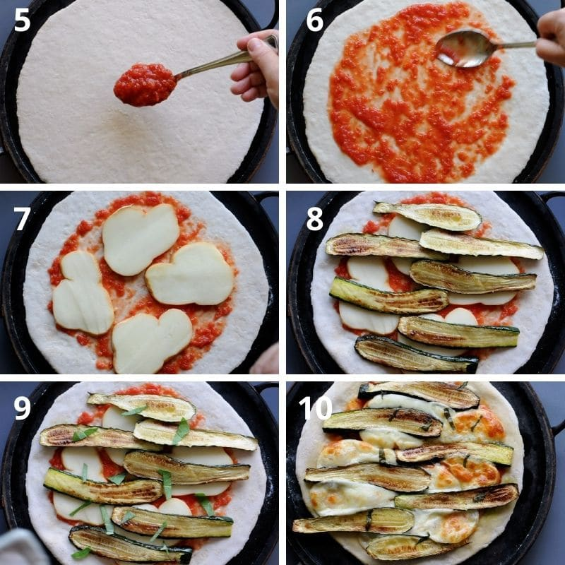 making pizza with zucchini