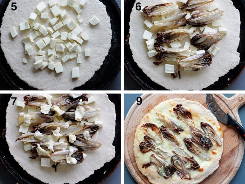 making pizza with radicchio and gorgonzola