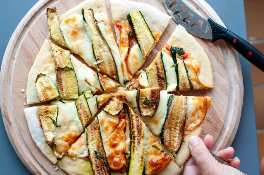 pizza fried zucchini and smoked scamorza