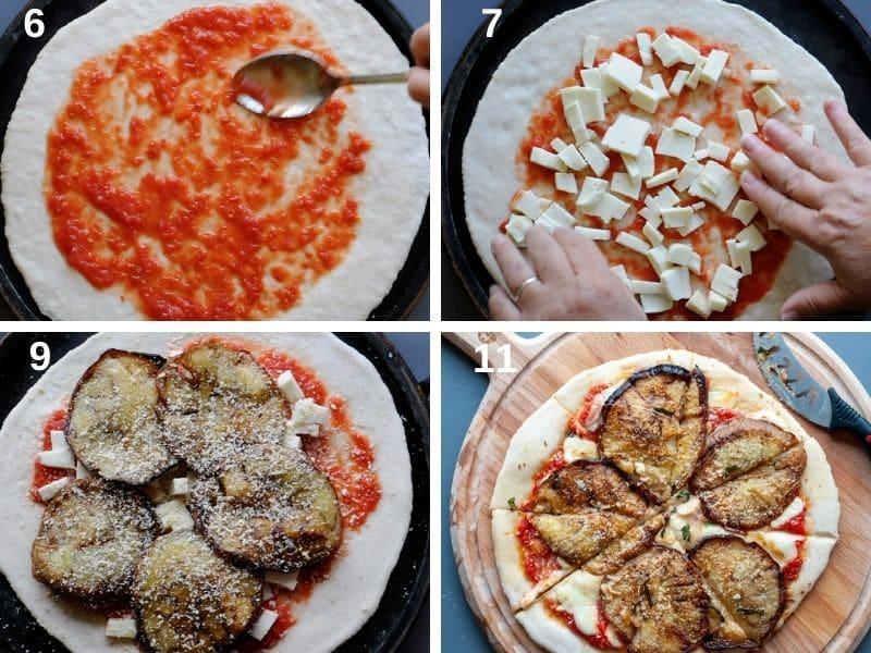 making pizza alla norma