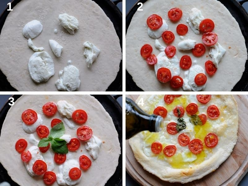 making pizza with cherry tomatoes and burrata