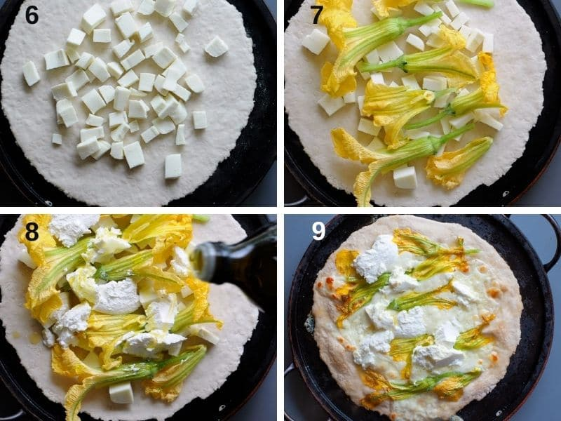 making pizza with zucchini flowers