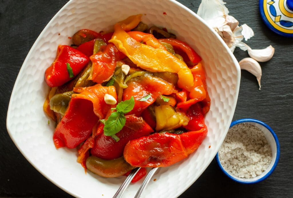 roasted peppers served in a bowl