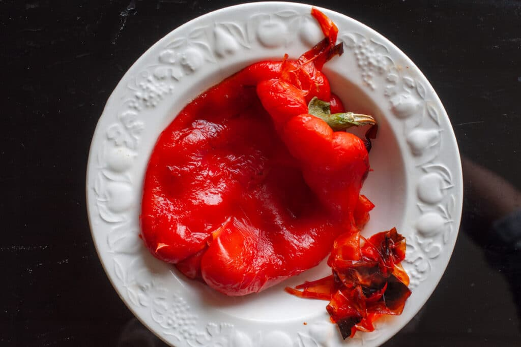skin off the peppers