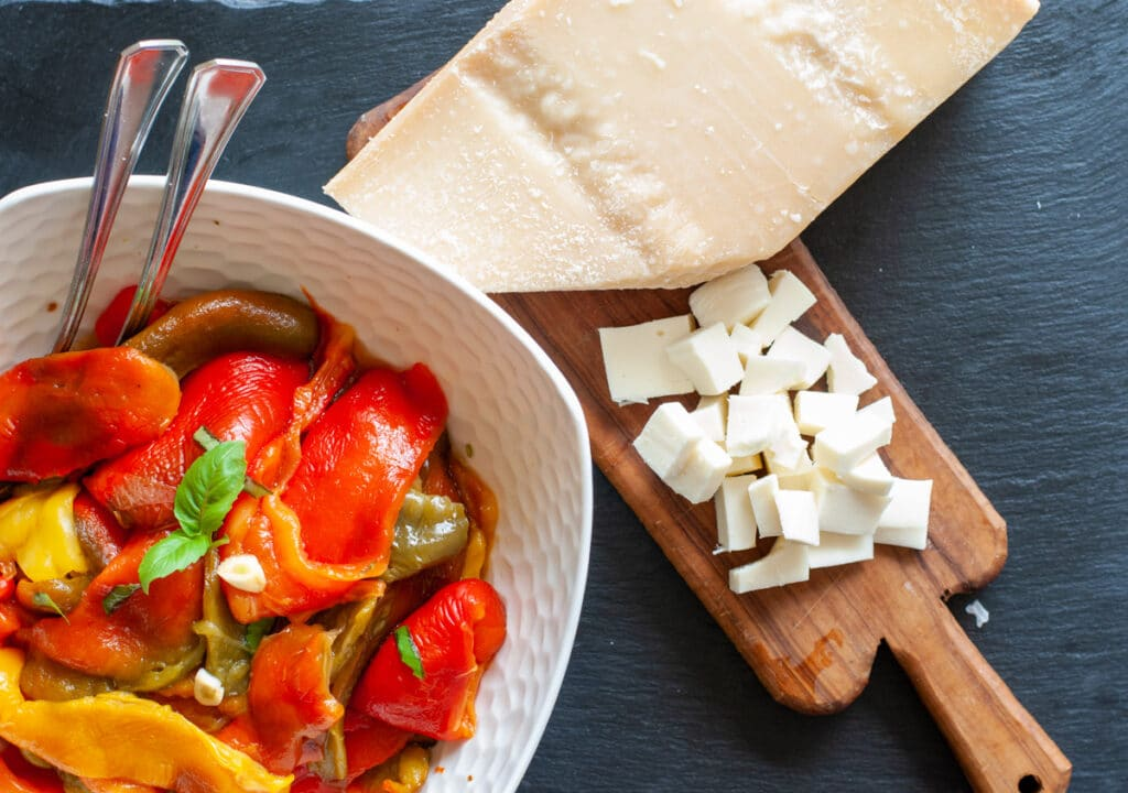 roasted peppers and parmesan