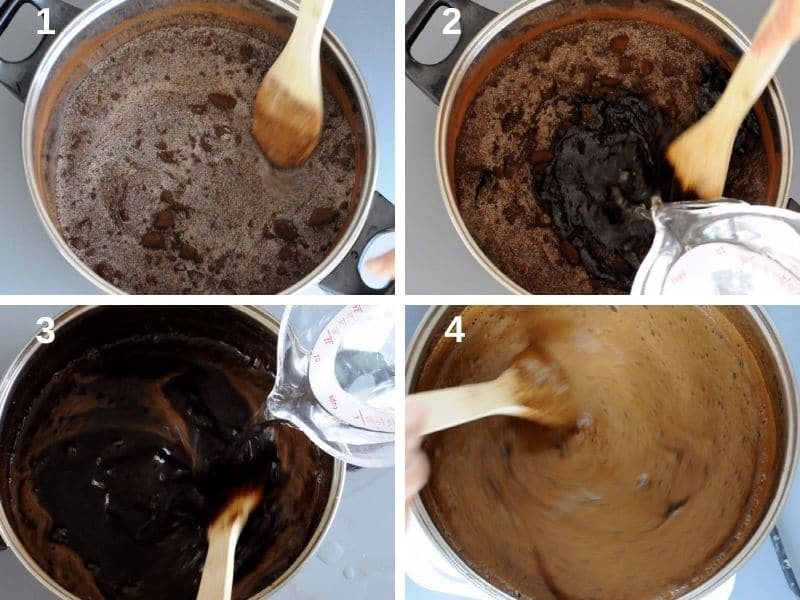 step by step dissolving the licorice into the water with sugar