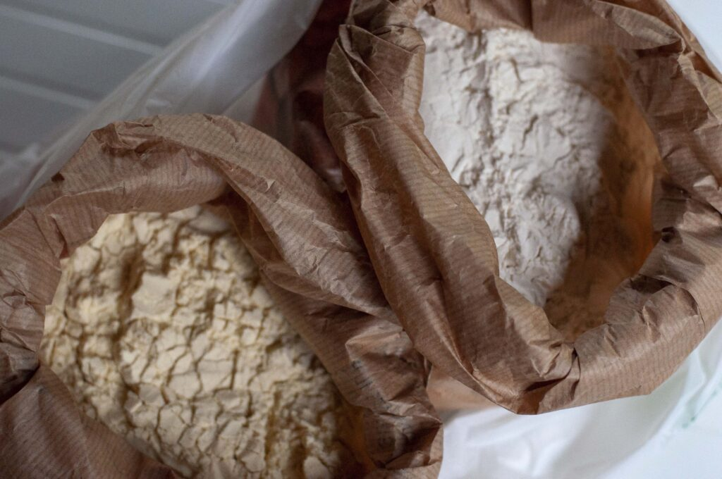 two types of flour in paper bags