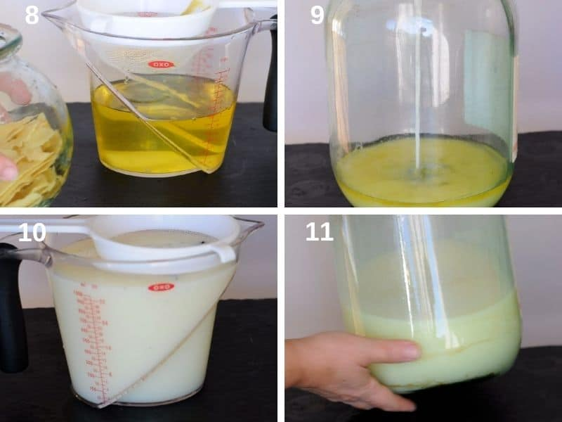 Step by step mix the alcohol with the cream