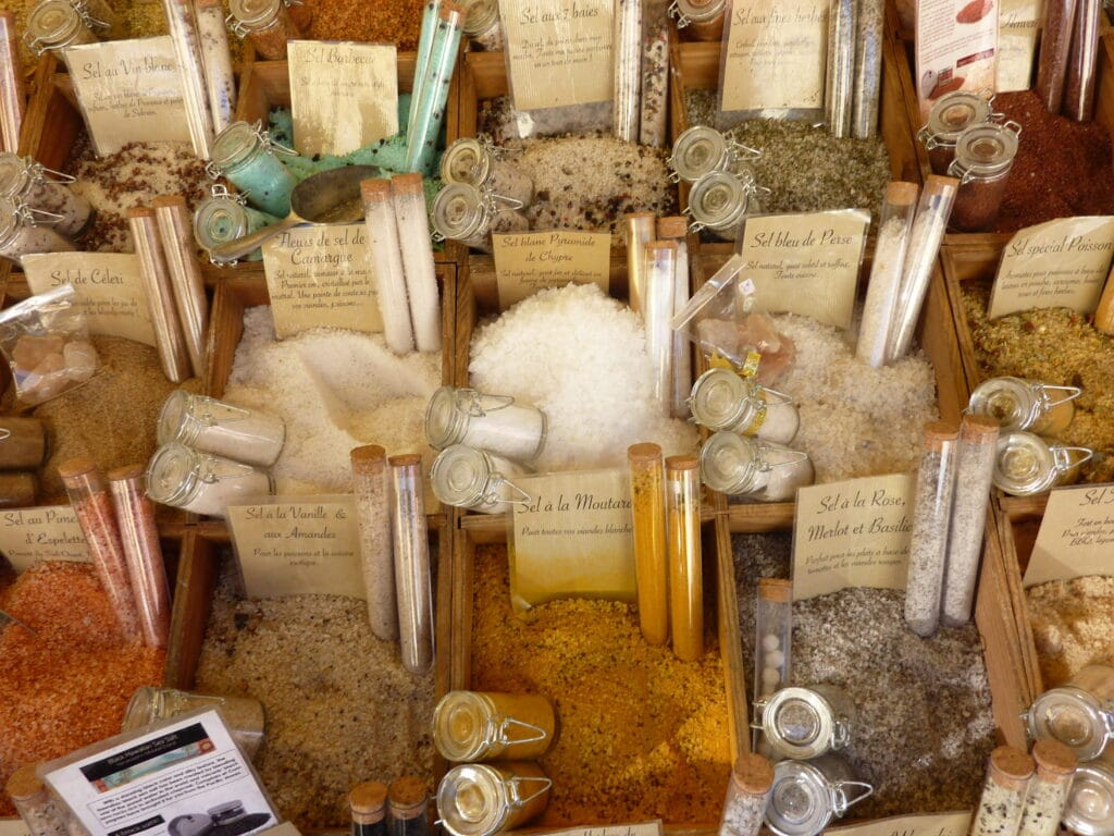 spiced salts on a market stall