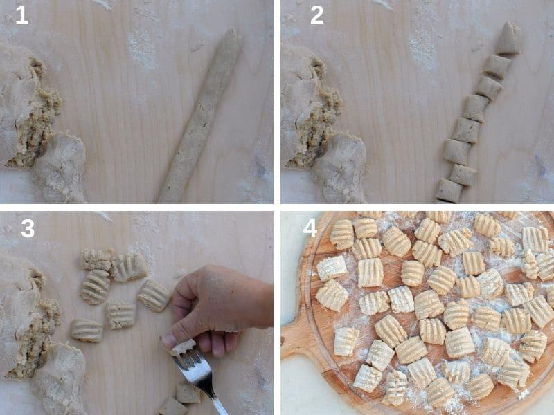 Shaping chestnut gnocchi