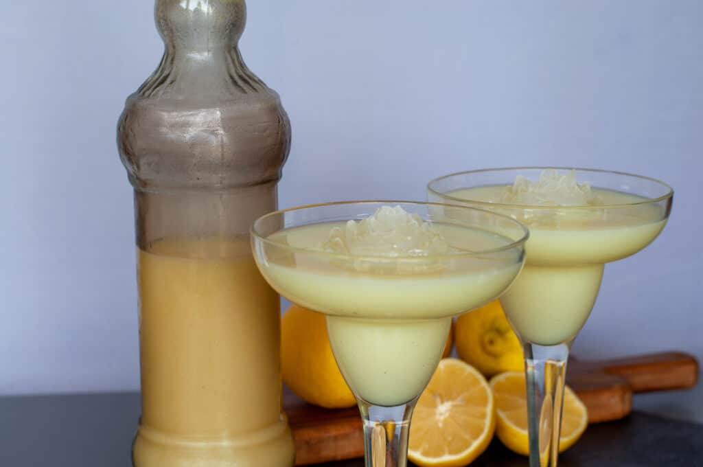 limoncello cream served with rose ice