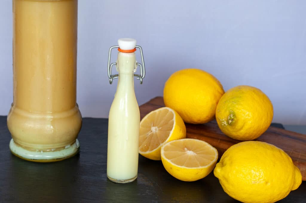 Limoncello cream in a small bottle