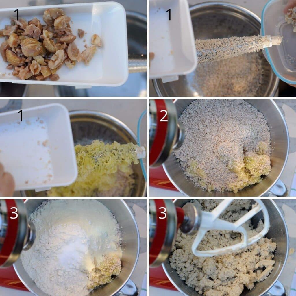 preparing the chestnut gnocchi dough