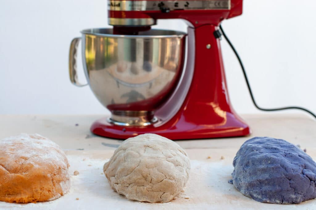 gnocchi dough in front of the kitchenAid
