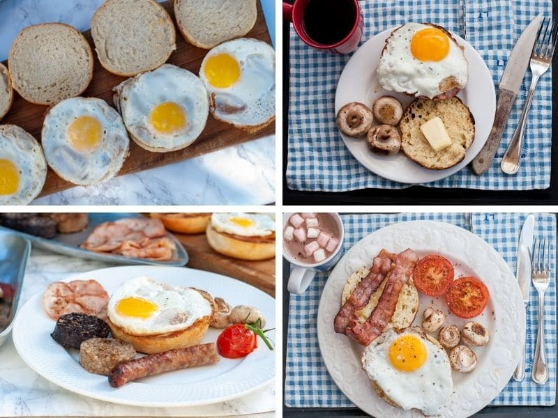 ways of serving English muffins with egg and bacon