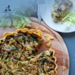 This zucchini mushroom quiche is perfect for a lunch with friends. You can prepare all the ingredients the day before and bake it just a few minutes before your friends arrive. It is full of healthy vegetables, enriched by eggs, stringy Emmental cheese, and crunchy bacon.