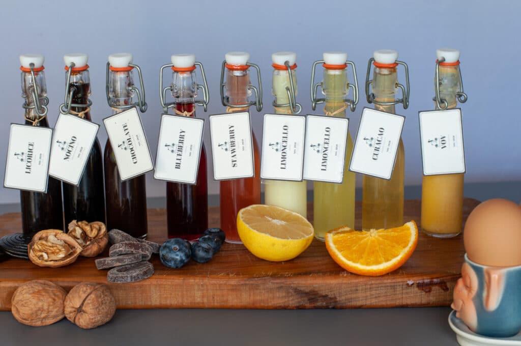 Type of liqueurs in bottles