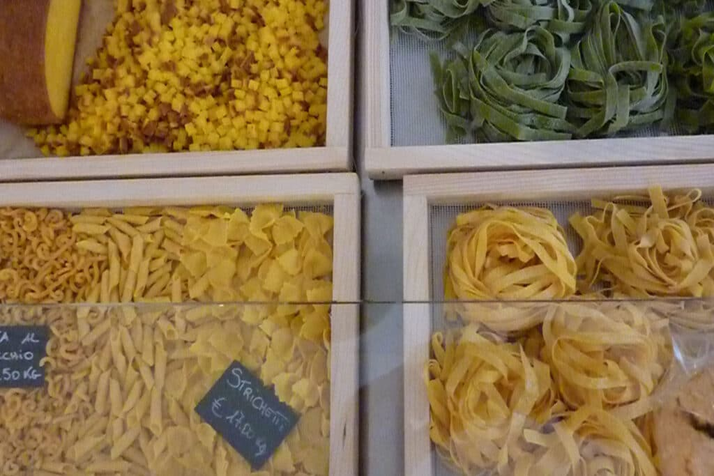 Fresh Pasta sold in the center of Bologna