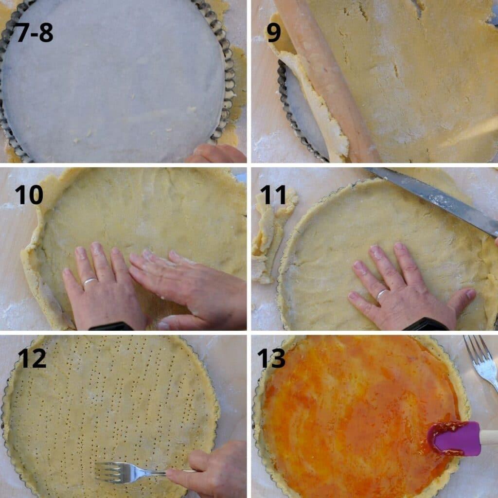 preparing the base of the crostata