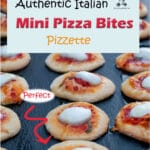 These pizzette, mini pizza bites, are a classic Italian street food you find at Cafes and Bakeries to buy and eat on the go. They are also very popular to serve at children's parties and informal buffets.