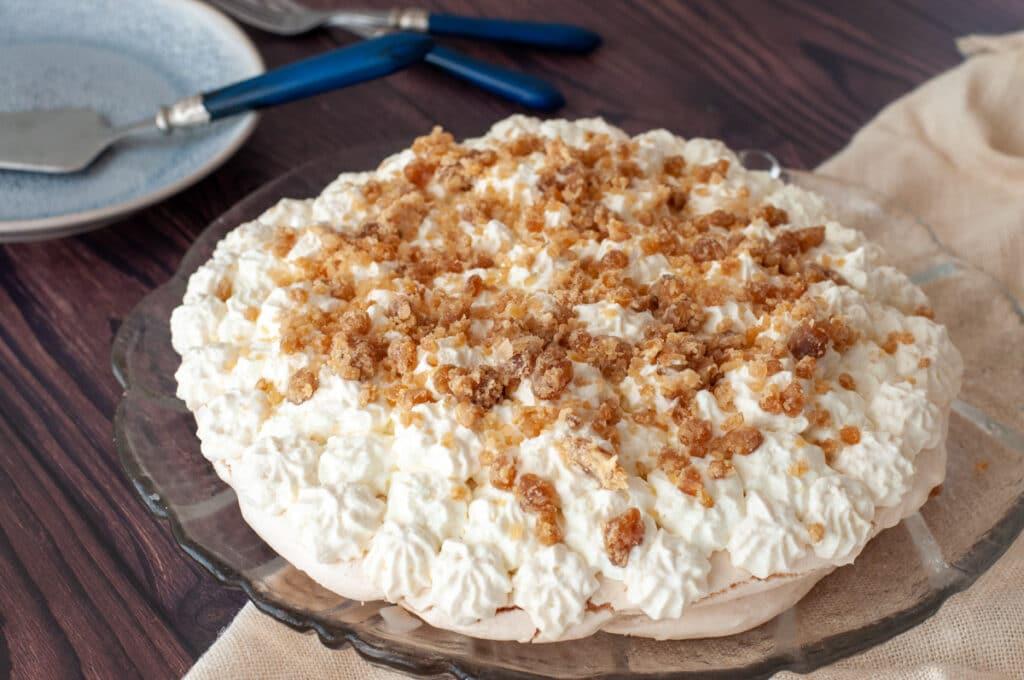 chestnut pavlova on a serving dish
