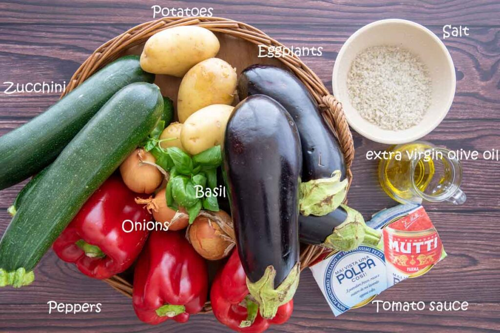 Ingredients to make ciambotta