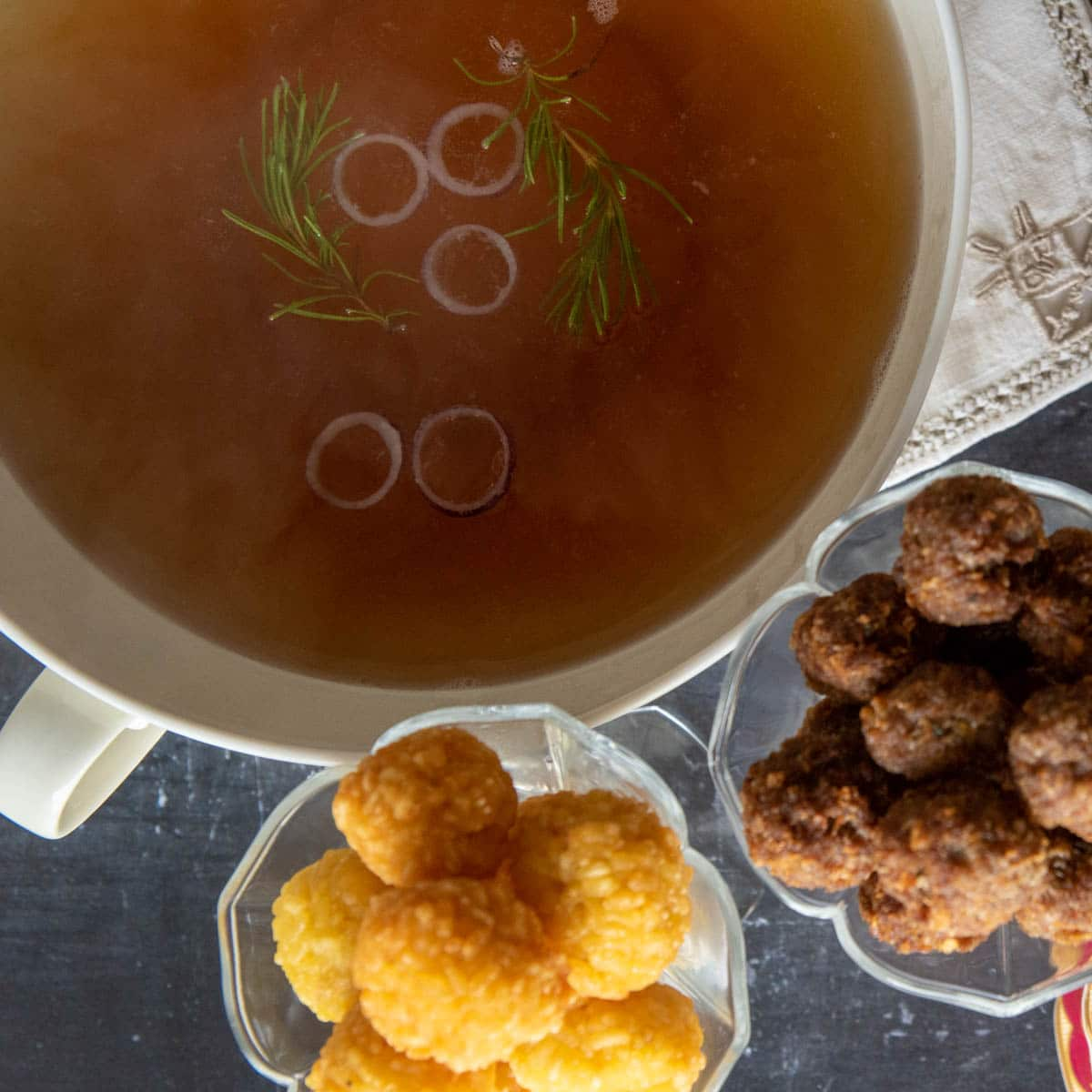 beef consomme served with rice and meat balls